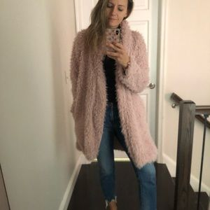 Faux fur blush coat